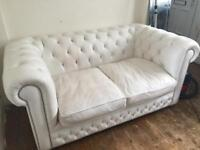 White leather 2 seater chesterfield sofa