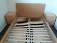 Ikea Malm double bed frame with two underbed drawers