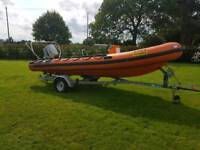 Humber 5.5m rib boat 85 outboard and trailer