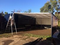 Dastle Racebox enclosed transporter trailer and awning.