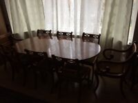Vintage dining table and eight chairs