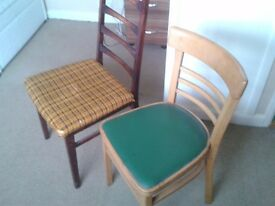 Two retro older style chairs for upcycling and refurbishing