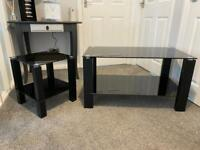 Black glass coffee and side table