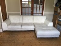 White Off-white leather 3 Seater Sofa and Chaise Longue