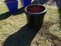 Black glazed garden plant pot planter