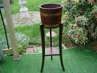 Antique oak coopered barrel plant stand/jardiniere