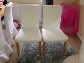 Ikea Henriksdal white dining chairs