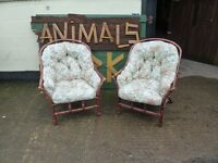 Conservatory chairs two matching very confy dark wood wicker frame