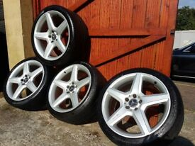 "19"" INCH GENUINE AMG 5 SPOKE ALLOY WHEELS WITH TYRES"