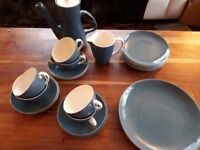 POOLE POTTERY COFFEE SET. CAMEO. BLUE MOON. 22 PIECE. GOOD COND.