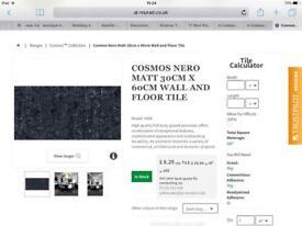 8 x Cosmos Nero Matt Wall and Floor tiles. 30x60cm