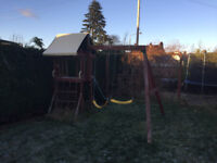 outdoor climbing frame, swing and slide
