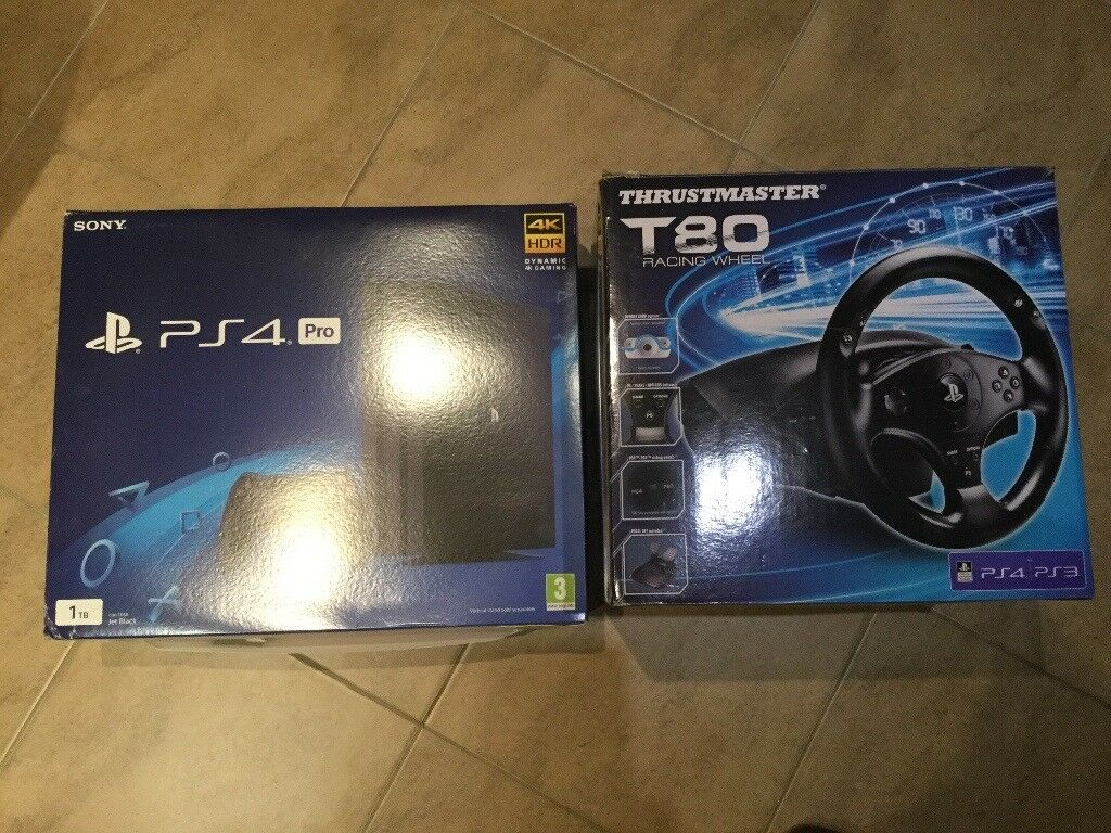 Playstation 4 Pro 1tb Black Thrustmaster T80 Steering Wheel And Ps4 Games Bundle 2
