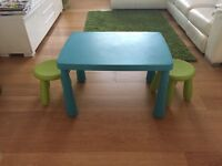 IKEA children's blue table and two green chairs