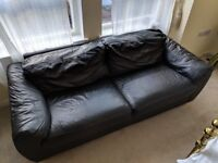 *URGENT REDUCED* lovely black leather couch/sofa, lightweight and easy to carry