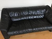 Black Leather 3 Seater Sofa.