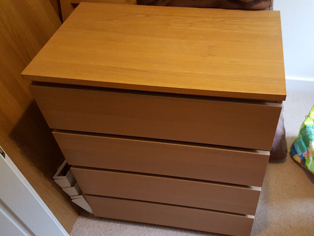Set of 4 drawers - IKEA MALM Oak - great condition (2 available)