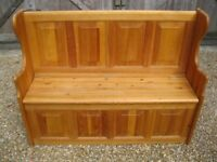 MONKS BENCH . PINE PEW WITH STORAGE / SETTLE. Delivery possible. ALSO CHURCH PEWS / BENCHES & CHAIRS