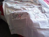 Beautiful Vintage (1970's) white embroidered tablecloth.