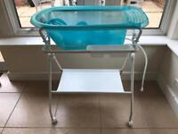 Baby bath and stand on wheels