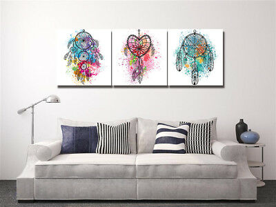 (Colorful Dream Catcher Painting Abstract Art Print Canvas Wall Decor Set Frame )