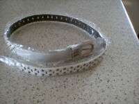 LADIES (long) WHITE STUDDED BELT-BRAND NEW. Unworn