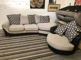 Stunning fabric corner sofa + cuddle chair