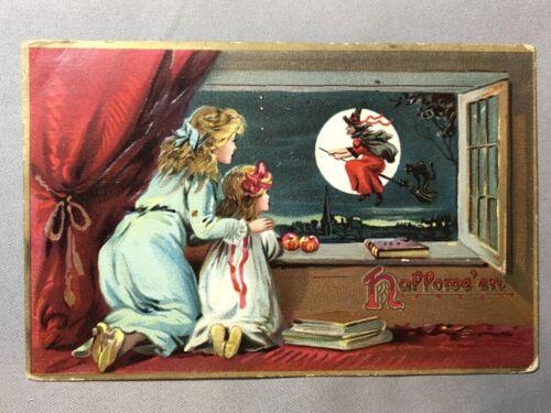 1908 TUCK Flying WITCH Broomstick Window HALLOWEEN Postcard ANTIQUE Original