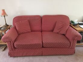 Marks and Spencer 2 seater sofa bed in red jacquard fabric