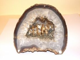 collection of 5 ornaments little gold miner digging away on geodes / stagmites