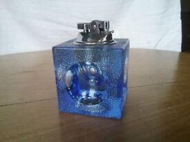 Vintage 1960's Blue Glass Cube LighterON HOLD FOR J