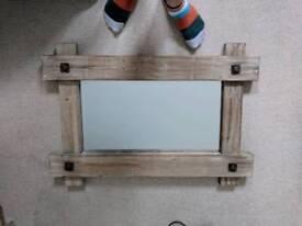 Rustic wood effect mirror