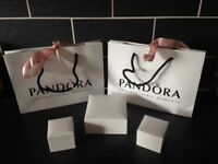 Two Pandora gift bags, two charms boxes and a bracelet box.