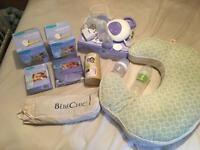 Electric breast pump, manual pump, cover, feeding pillow, and lots of additional extras!