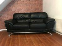 Black Leather 3+2 Seater Couch For Sale