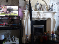 King Louis Fireplace +Matching Mirror +Granite Hearth+Back +Gas Fire