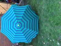 Blue and green garden parasol