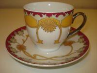 TEA SERVICE WILLIAM MORRIS STYLE ART NOVEAU MOTIF WHITE/GOLD/PLUM *large teapot*sugar*saucers*cups*