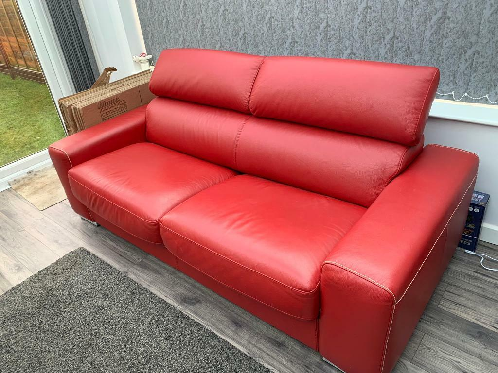 Dfs Kalamos Red Leather 3 Seater Sofa