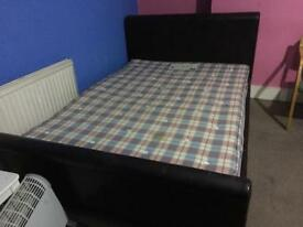 Excellent Dark brown leather double bed