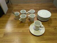 6 piece complete ceramic expresso set + coffee spoons