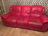 Red leather reclining sofa and non-reclining armchair - need picked up and removed tomorrow - FREE
