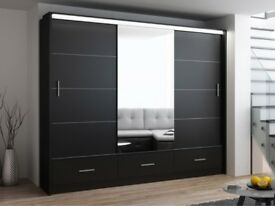 SUPERB GERMAN WOOD! BRAND NEW MARSYLIA 3 OR 2 DOOR SLIDING WARDROBE IN BLACK OR WHITE COLOURS