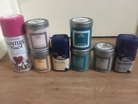 Various tester pots and spray paint