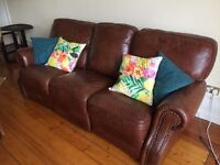 brown leather sofa with reclining, good condition, £75