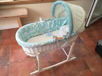 Moses basket with stand, mattress and protector