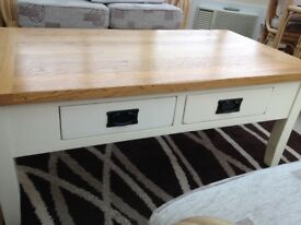 Cream and oak coffee table with 4 useful drawers , see description for size