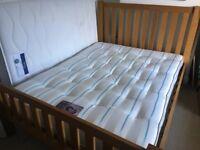King size oak double bed andPoppy 1000 mattress