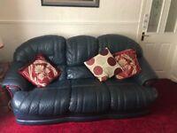 Leather three piece sofa, armchairs
