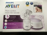 Philips Avent, Single Electric Breast Pump (natural comfort), boxed with additional bottle
